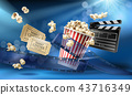 Cinema background with 3d realistic objects 43716349
