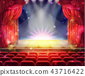 Red curtain and empty theatrical scene 43716422