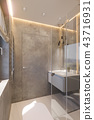 3d render interior design of the bathroom with glass walk in shower 43716931