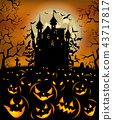 Halloween background with scary pumpkins and Dracula castle 43717817