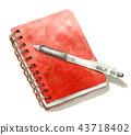 水彩畫的記事本和圓珠筆 43718402
