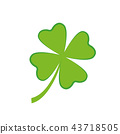 four-leaf green clover simple drawing white background 43718505