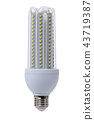 Led lamp with opaque glass bulb. White background. 43719387