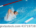 Photo of athlete man in blue cap swimming in style of crawl in swimming pool 43719738