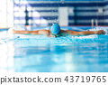 Photo of sports man swimming along path in pool 43719765