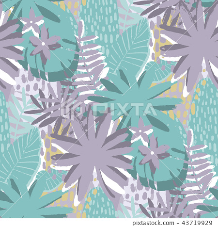 Graphic seamless pattern of exotic leaves in gentle colors 43719929