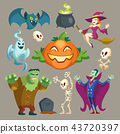 Vector Halloween characters, October holiday cartoon elements 43720397