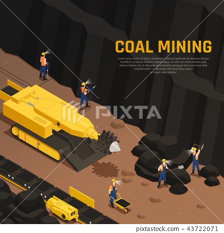 Miners Coal Production Isometric Composition 43722071
