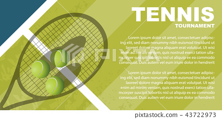 Tennis tournament poster design. Vector template 43722973