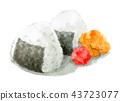 ข้าวปั้นและอุเมะโบชิตากแห้งด้วยสีน้ำ 43723077