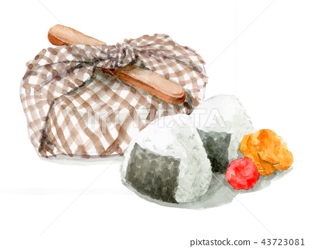 Watercolor wrapped lunch box and rice ball 43723081