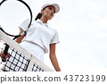 Tennis player playing on the court on a sunny day 43723199