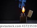 Golden metal lighter and smoke 43723539