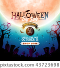 Halloween Sale banner illustration with moon, crow and flying bats on blue night sky background 43723698
