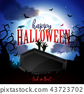 Happy Halloween banner illustration with moon, flying bats, coffin and zombie hand on blue night sky 43723702