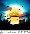 Happy Halloween banner illustration with moon, flying bats, coffin and zombie hand on blue night sky 43723706