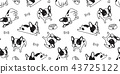 Dog seamless pattern vector french bulldog bone 43725122
