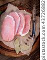 Fresh raw meat sliced. 43726882