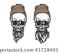 skull with hair beard and mustache 43728403