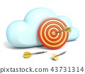 Cloud icon with dartboard target 3D 43731314