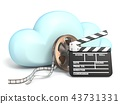 Cloud icon vith movie tape and clapper 3D 43731331