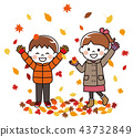 Child playing with autumn leaves 43732849