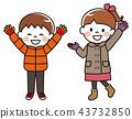Autumn winter children waving hands 43732850