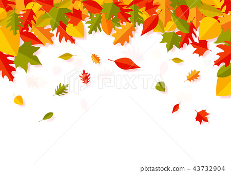 Paper art of Autumn leaves falling background 43732904