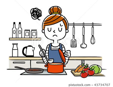 插圖素材:家庭主婦,烹飪 43734707