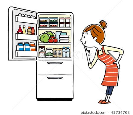 插圖素材:家庭主婦和冰箱 43734708