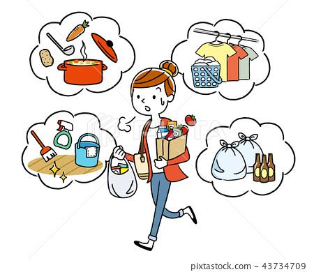 插圖素材:家庭主婦被家務勞動追逐 43734709