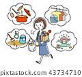 插圖素材:在工作時做家務的家庭主婦 43734710