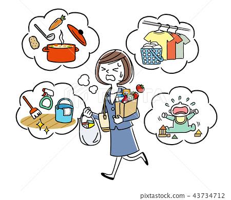 插圖素材:在工作時做家務的家庭主婦 43734712