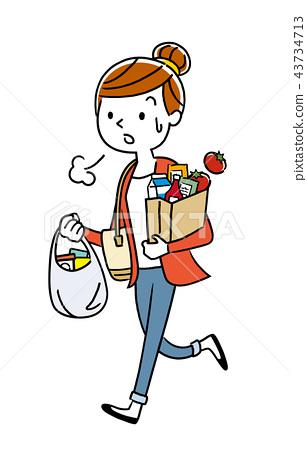 일러스트 소재 : 쇼핑에서 돌아가는 주부 43734713
