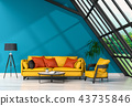 3D rendering of interior modern living room  43735846
