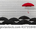 one red umbrella is higher than the others black  43735848