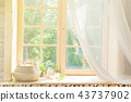 White Curtain and Wood Window Frame High key Background with sunlight 43737902