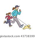 개와 딸과 달리기를하는 엄마 43738399