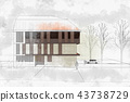 Modern architecture computer generated illustration watercolor s 43738729