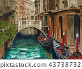 Beautiful view of venetian canal 43738732