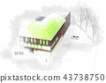 Modern architecture computer generated illustration watercolor s 43738750