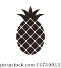 Pineapple icon isolated on white background 43740013