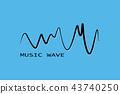 Black sound wave symbol. Pulse music player. 43740250