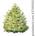 Watercolor fir tree christmas illustration 43740562