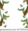 Watercolor fir tree christmas pattern 43740568