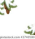 Watercolor fir tree christmas illustration 43740580
