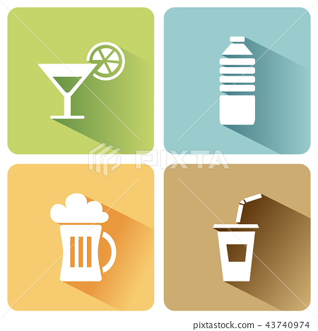 Summer drinks icons with shadow  43740974
