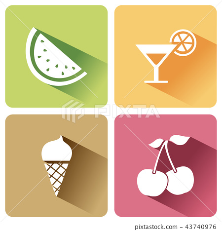 Summer food icons with shadow on white background 43740976