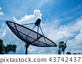Small Satellite Dish in a Beautiful Clear Blue Sky 43742437