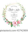 การ์ดเชิญงานแต่งงานดอกไม้ลายดอกไม้การ์ดแต่งงาน ภาพวาดสีน้ำ 43742909